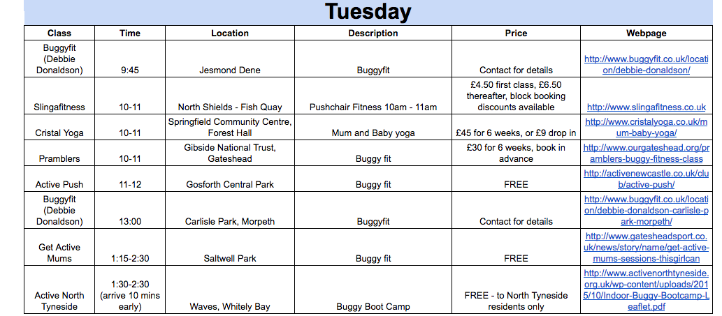 Baby-friendly exercise timetable Newcastle Gateshead North Tyneside no childcare Tuesday