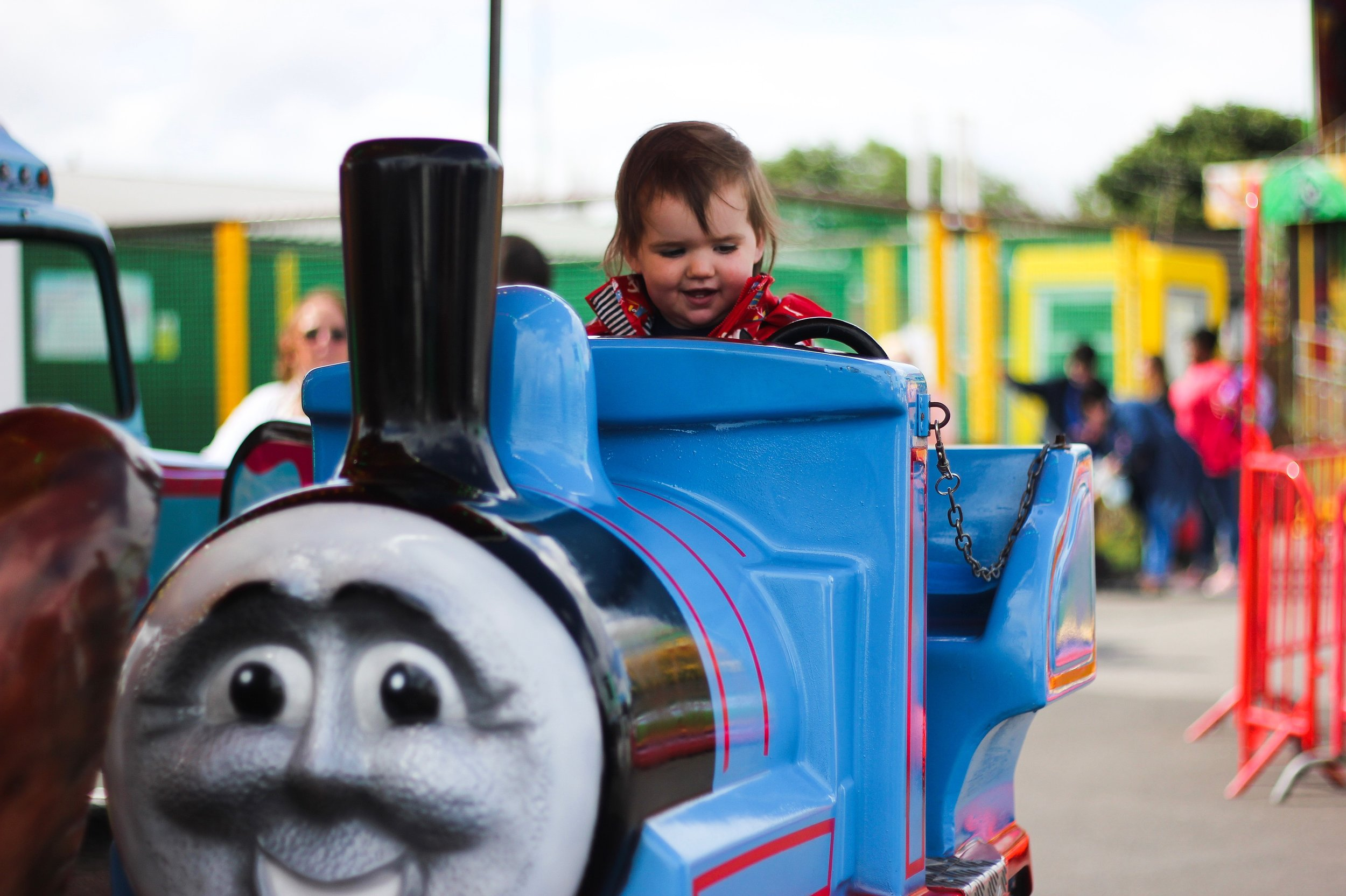Sprog on the Tyne Ocean Beach South Shields Fairgrounds with toddlers Thomas the Tank Engine