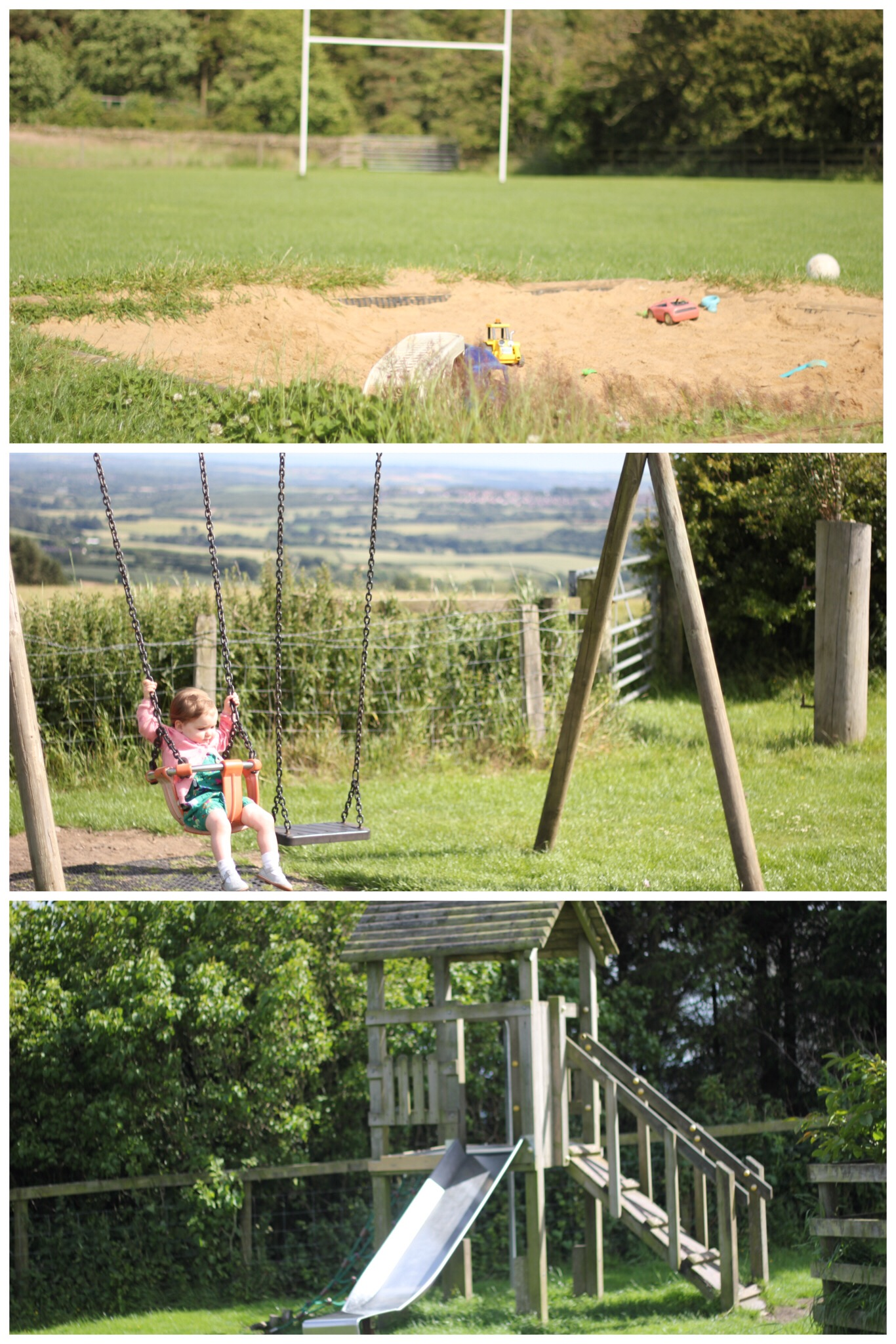 Broom House Farm Coffee Shop Play Equipment Children Sprog on the Tyne Slide Swings Sand Pit