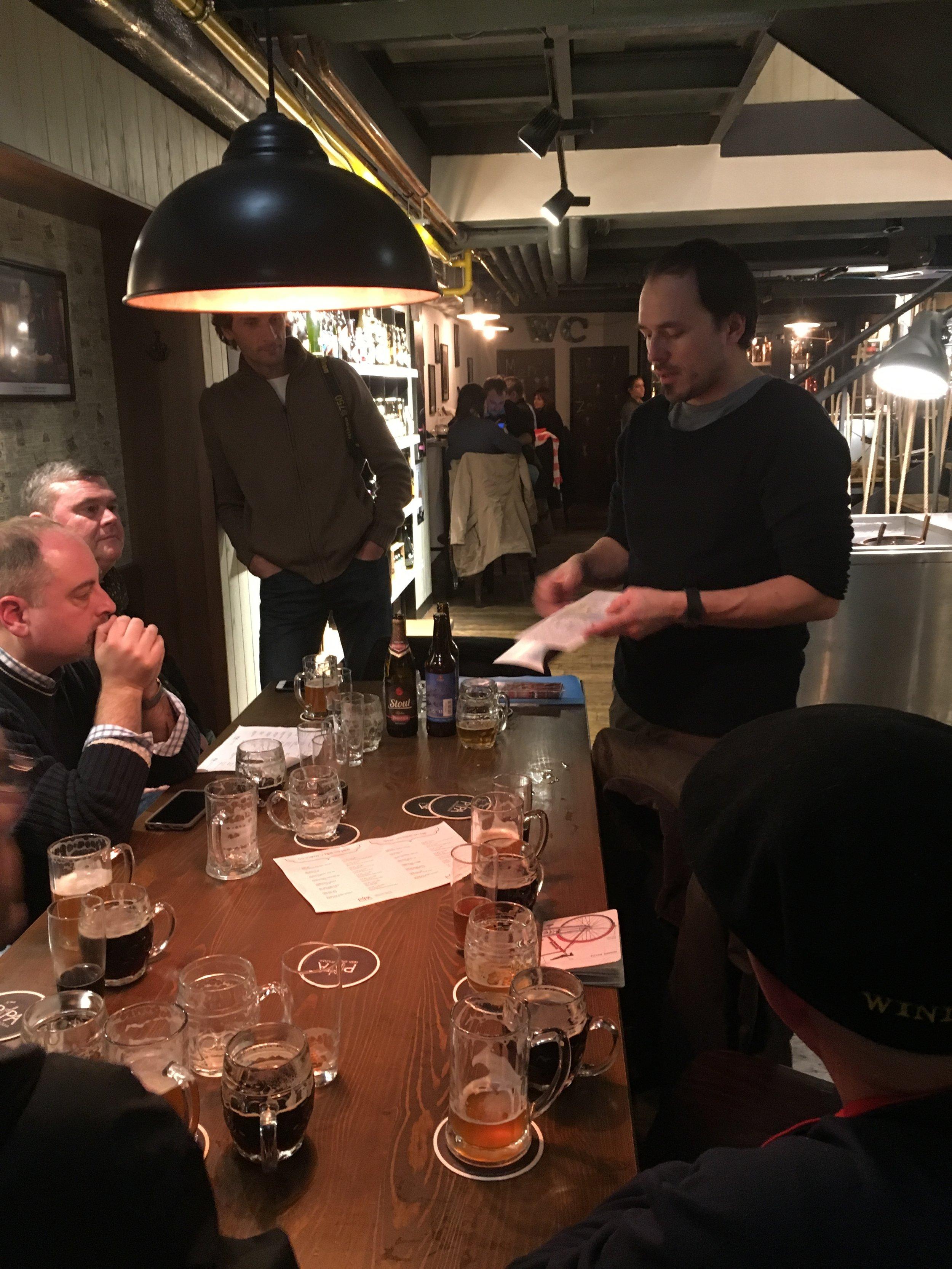 Jan explaining brewing styles at Pipa Beer Story.