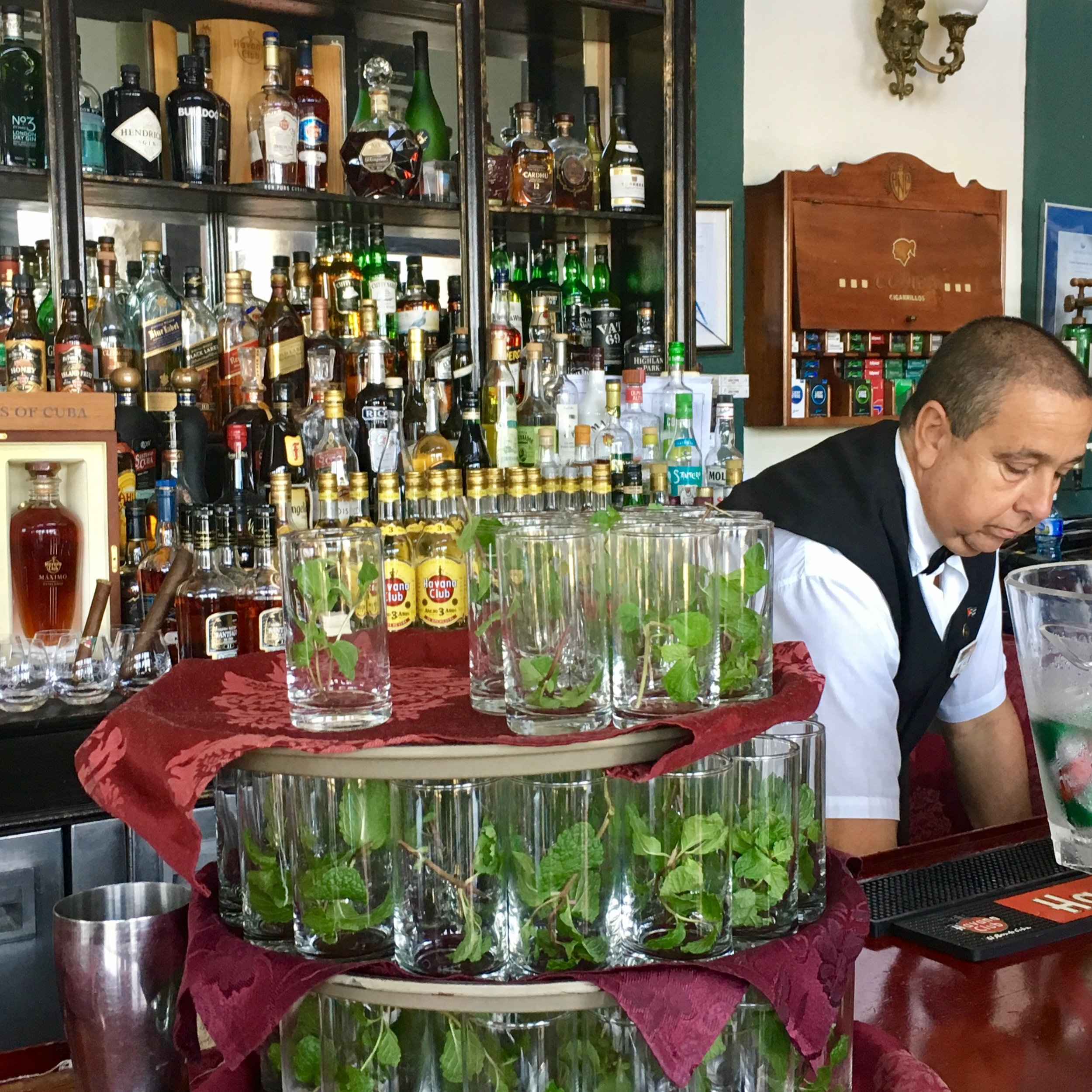 """Mafia Mojitos"" at the hotel bar"