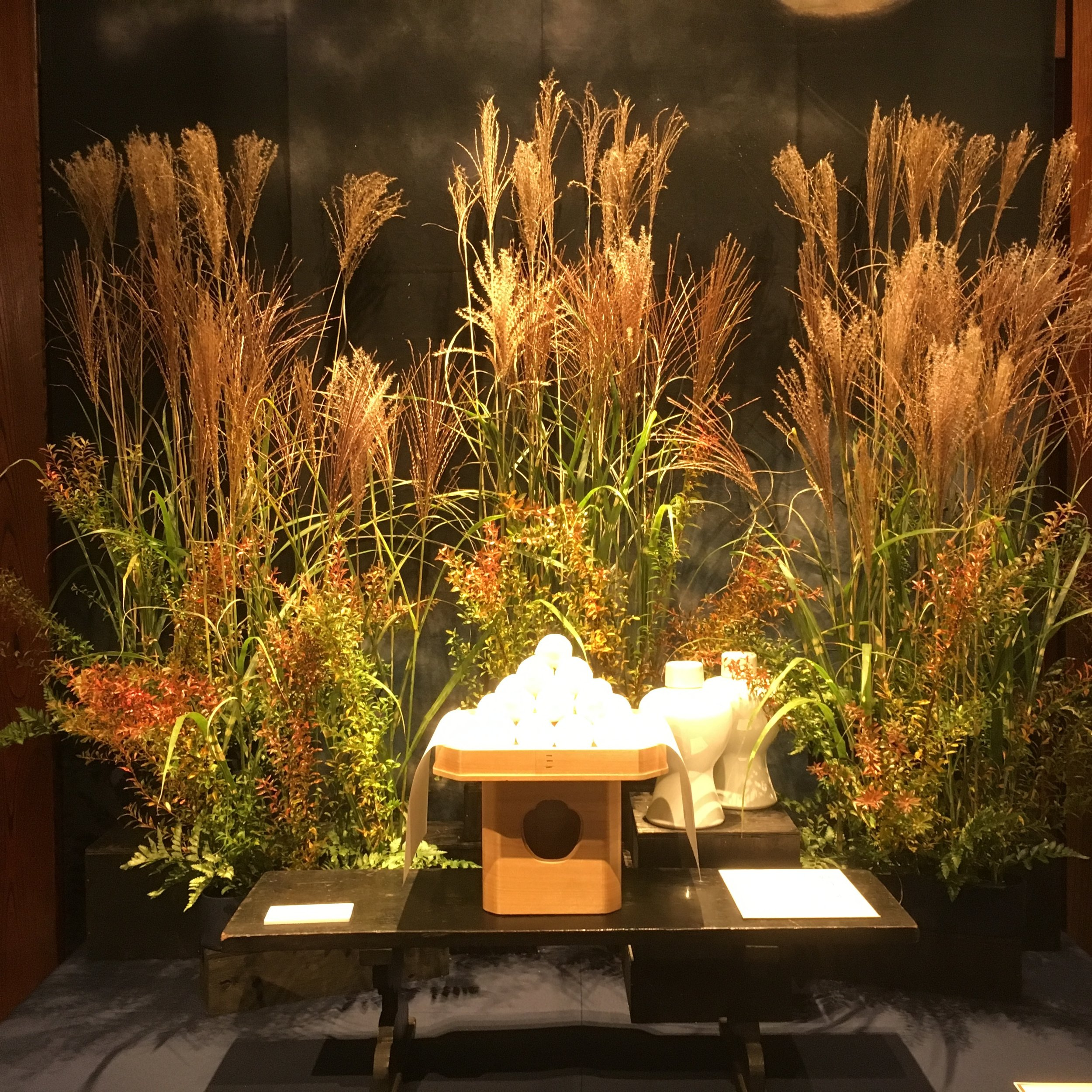 Vignette celebrating harvest time of rice plants