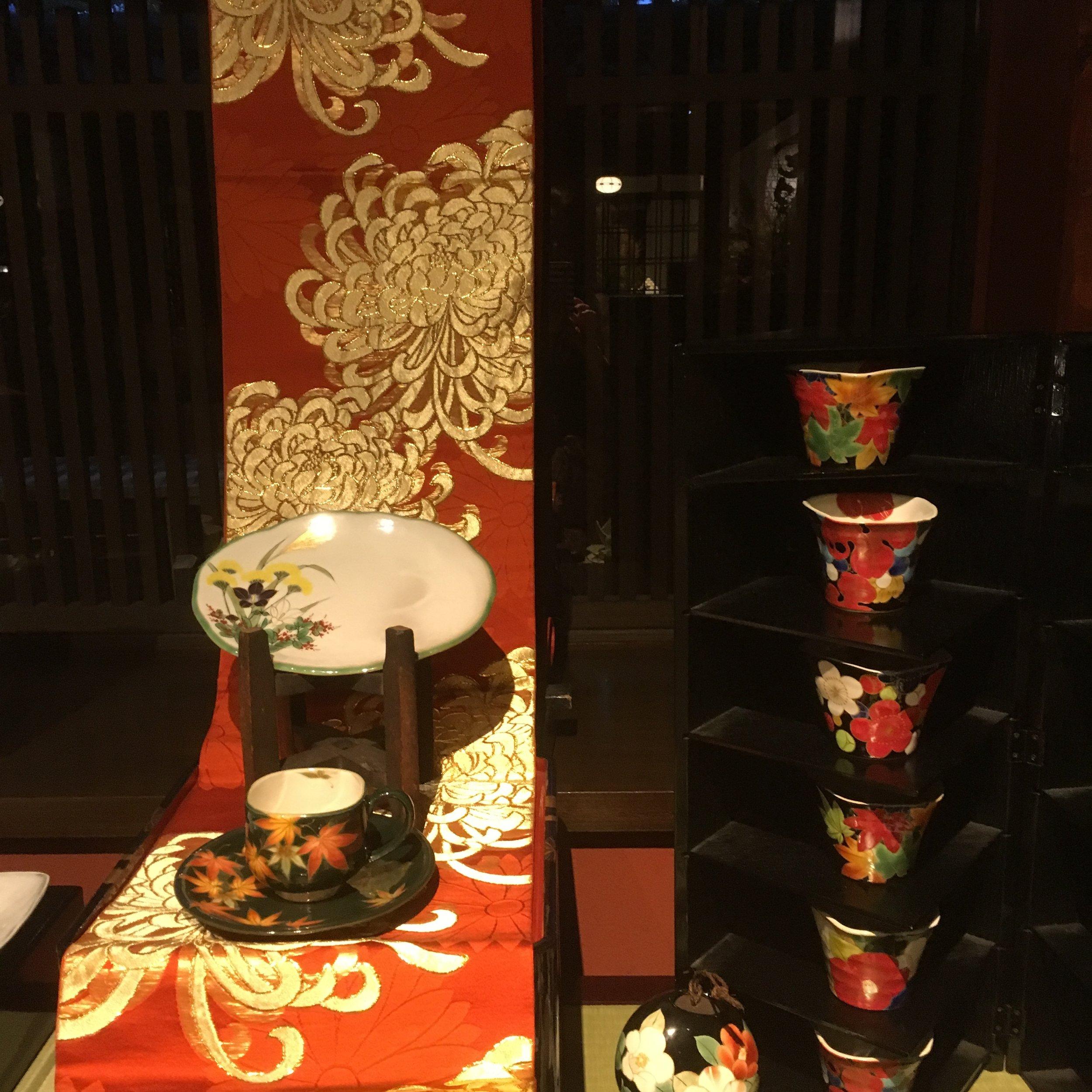 Autumn themed tableware on display
