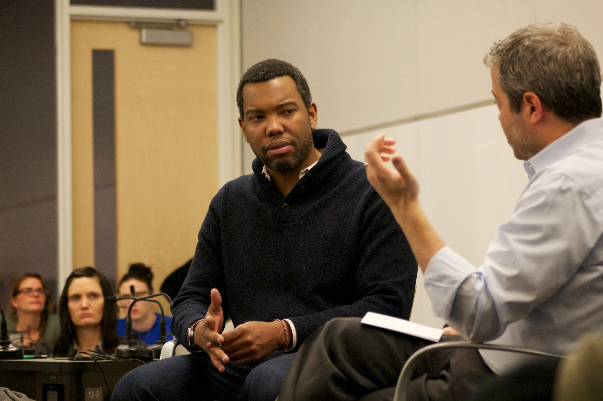"""Writer Ta-Nehisi Coates and social cognitive neuroscientist Matthew Lieberman in conversation during the Teacher's Institute symposium: """"Is Racism  the Neural Adversary of the Social Mind?"""""""