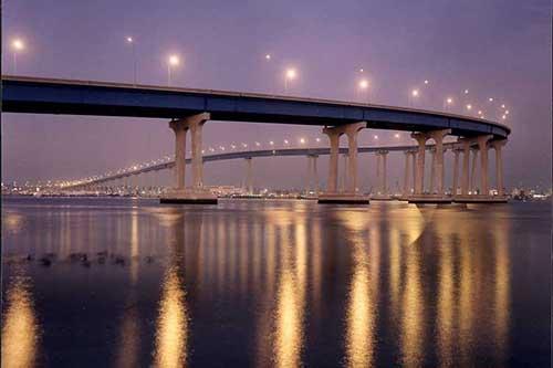Panoramic Ocean, City and Bay views including the Coronado Bay bridge.