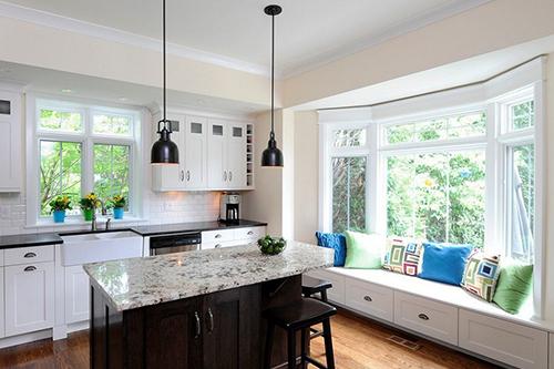 Stylized kitchens with bay windows