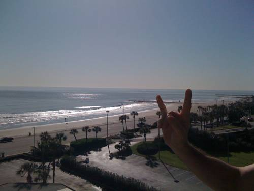 Bryan approves of our balcony view in Galveston.