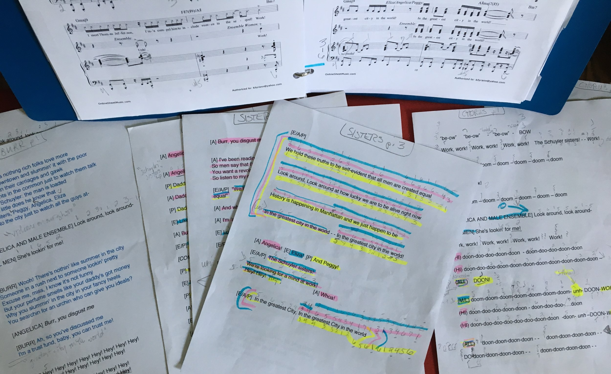 7 pages of my charts + 14-page score. #workwork