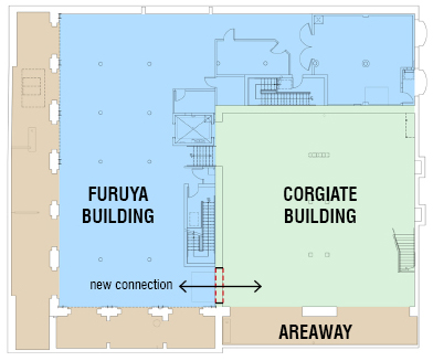"""ABOVE: Diagram showing the existing spaces of what were previously two separate buildings and the areaway under the sidewalk that now makeup the entirety of Flatstick Pub.  RIGHT: Characteristic of many of the original buildings in the region, the space below the sidewalk, technically outside the building, was left open after the streets were raised. This space, known as the """"areaway"""" was once the main access to the building, and is still open to the inside, today. The existing arched openings were used to divide the areaway into private party event spaces while maintaining the historic charm of the original building elements"""