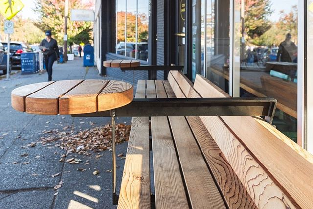 What a beautiful fall day to soak up the sun and admire the changing colors! And how about grabbing a front row seat on these new benches with floating tables outside @coylesbakeshop in Greenwood?