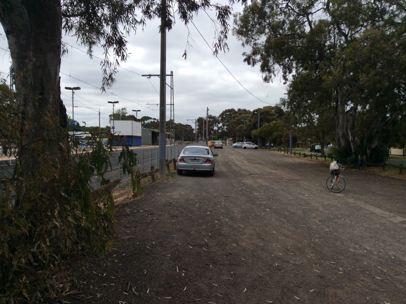Looking north (above) at Merlynston station carpark (cyclists ride to right on road)