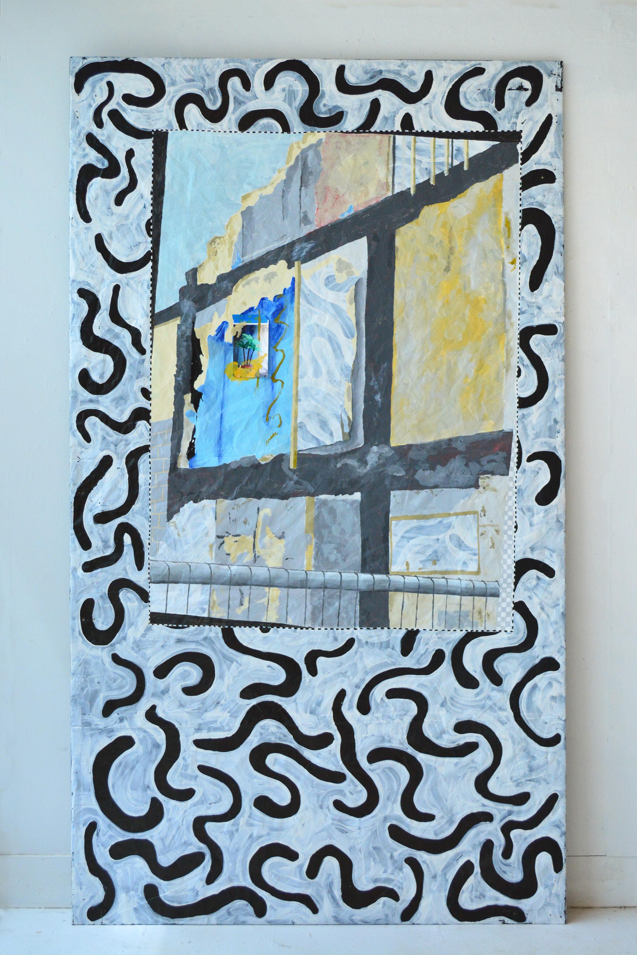- Seaham Harbour2016Vinyl, acrylic, plastic, photograph, tape, wood.8' x 4.5'