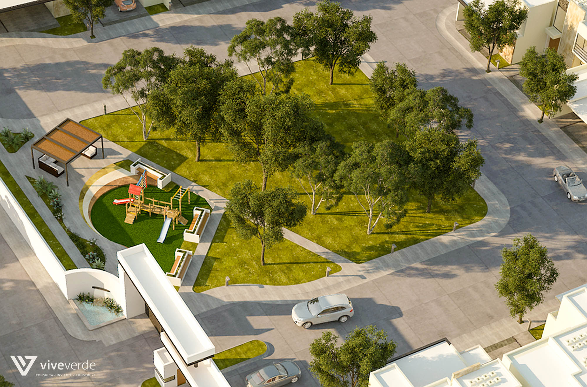1,250 m2 áreas verdes con calles de concreto