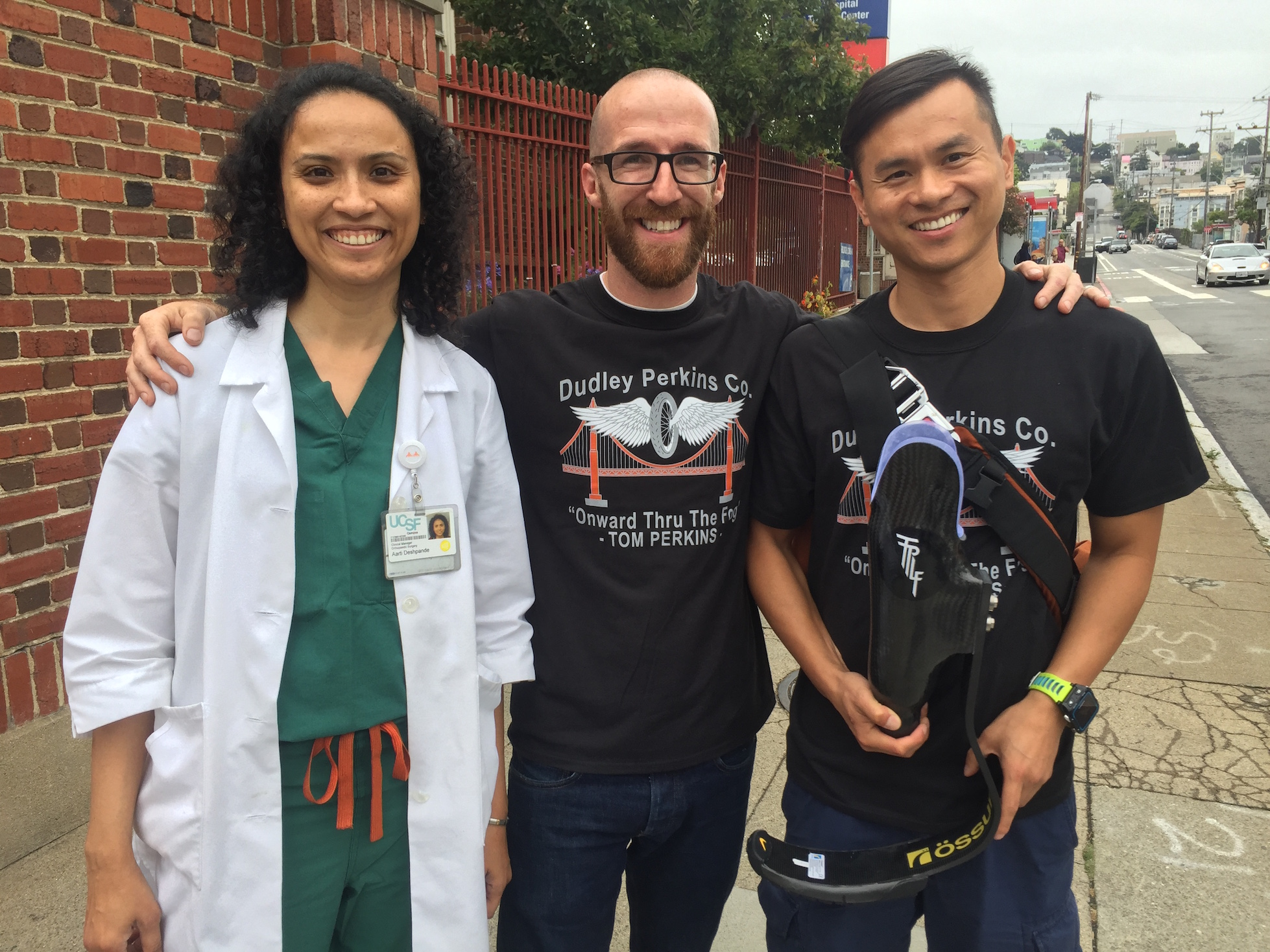2017 TPLF Grant Recipient Kim Yu, with prosthetist Aarti Deshpande & Christopher Perkins