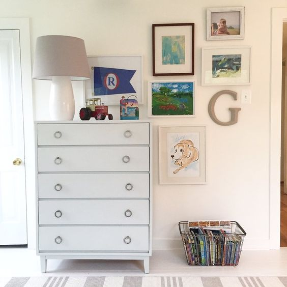 BOYS BEDROOM GALLERY WALL | children's art + memorabilia | via  Choux Designs