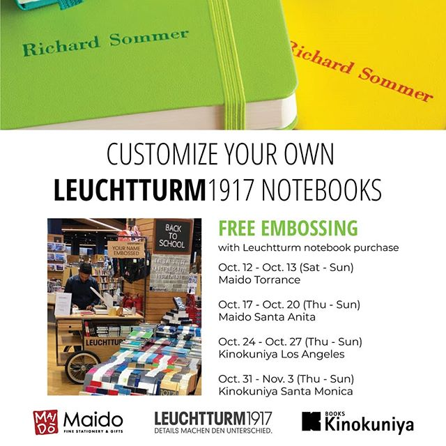 Come in our store between Oct.17th and 20th and get your Leuchtturm notebook personalized! With a purchase of a @leuchtturm1917usa notebook, you can get that embossed for FREE! * * * #leuchtturm1917 #embossing #notebook #personalize #stationery  #maido #maidosantaanita #maidoarcadia #stationeries