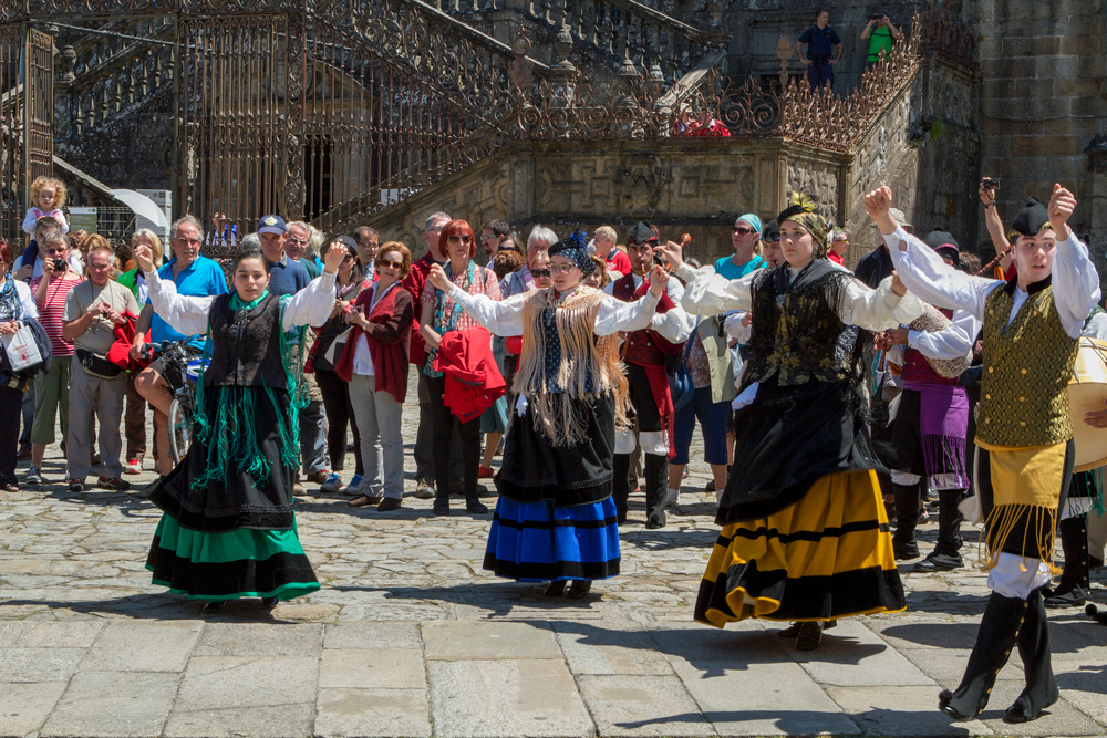 Galician folk dancing troupes perform in the Plaza during festivals