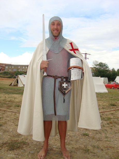 Hunter dons the garb of a knight for some light-hearted fun on the Camino..