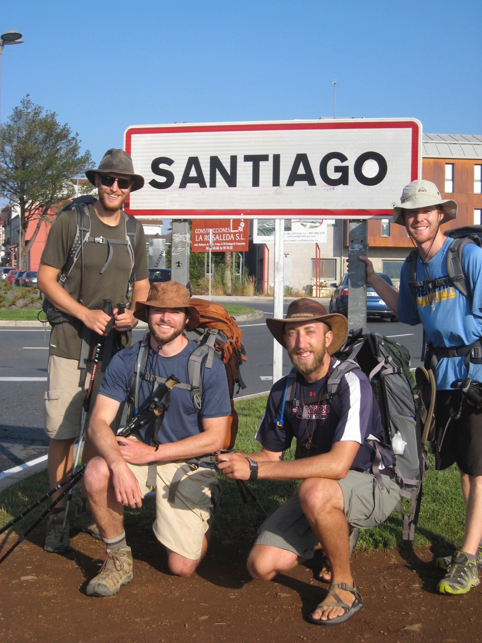 Hunter arrives with his friends after walking 500 miles in sandals. This is his report.