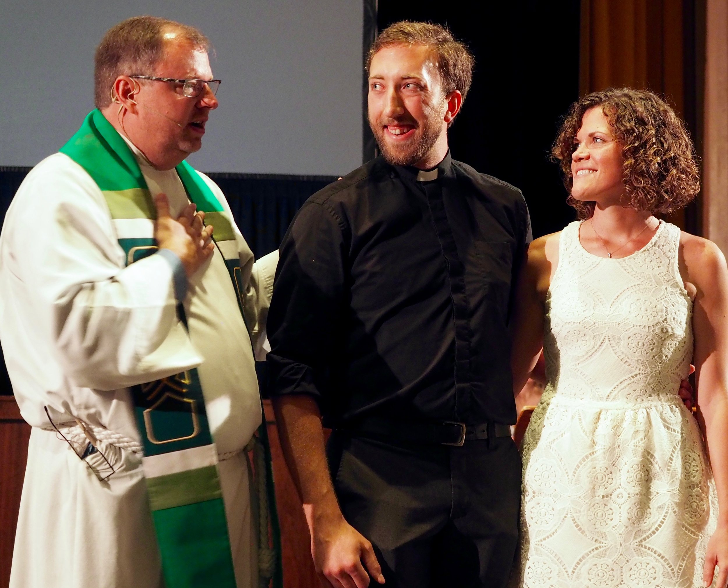 Hunter and Stephie received a blessing from their pastor Alan Hawkins at a Camino send-off last Sunday.