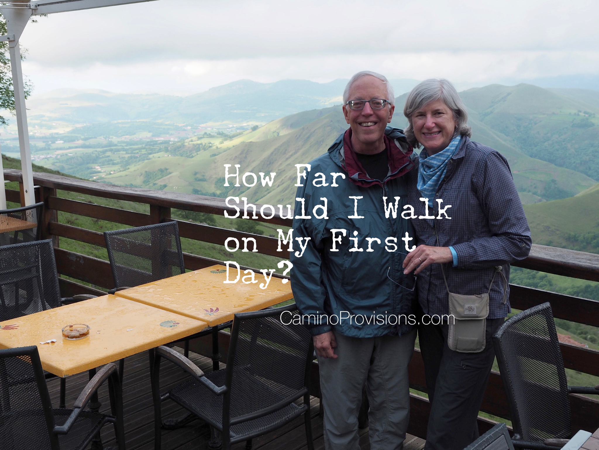 My husband Wick and I enjoyed the view and a rest after the steep climb to Refugio Orisson on a cold, rainy day in mid-May.     Crossing the Pyrenees is one of our favorite stretches of the Camino, but the next day it snowed on us on the way to Roncesvalles!