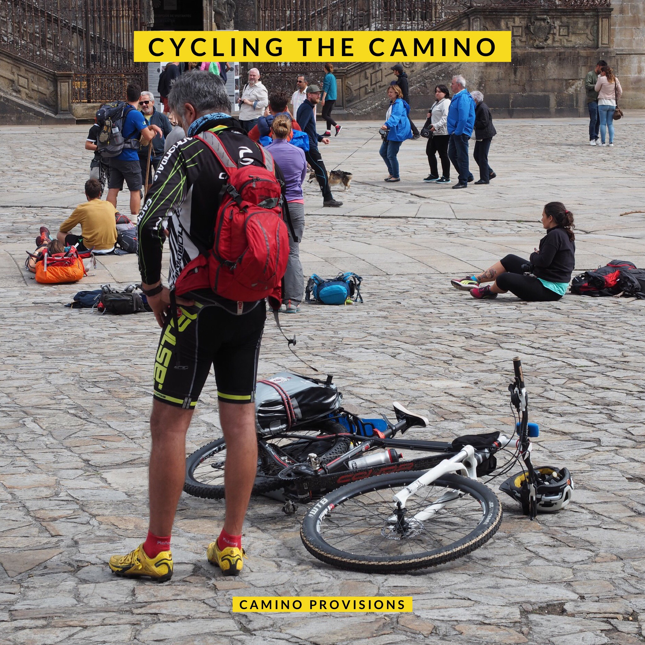 Tired cyclist arrives at the Cathedral