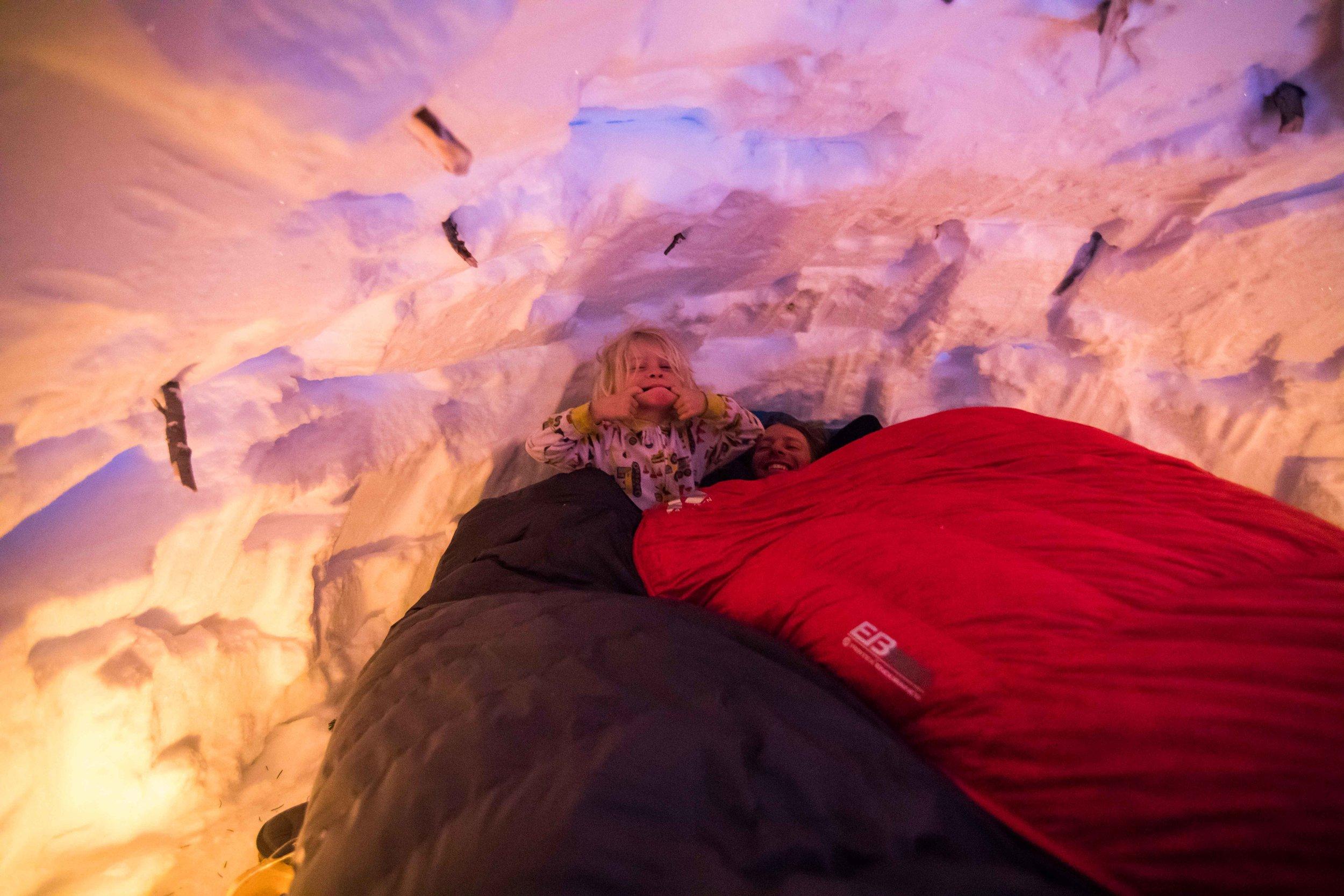 Kasper and Dave slept in a snow cave at Tweedsmuir Ski Club!