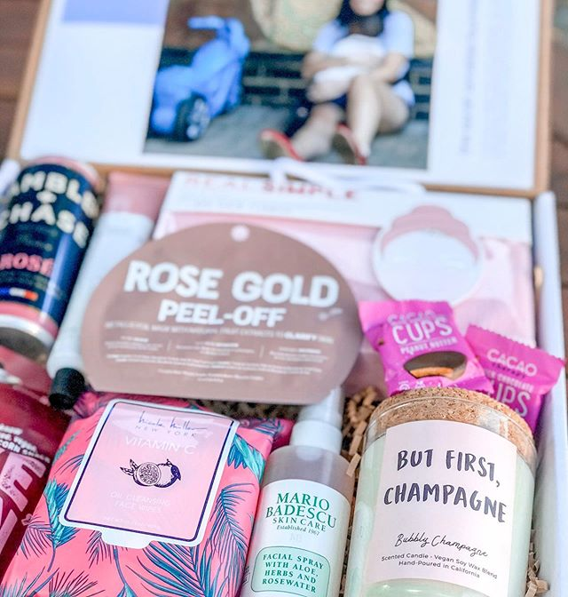 💥NEW PRODUCT ANNOUNCEMENT (Part 2)The Celebration Box. Inspired by the joyous feeling of celebrating with dessert in one hand and a glass of pink champagne in the other! • • 🎉A portion of all sales from Celebration Boxes go to the Sarah Annelise Foundation (see previous post for more details). Give a gift and make an impact at the same time! • • ✍🏻Projects are in the works for the future, and will be shared when more information becomes available. • • 🌟Included: Pink Champagne, Rose et Chocolat Hand Creme, Rose Gold Face Mask, Bubbly Champagne Soy Candle, Chocolate Therapy Peanut Butter Cups, Makeup Removing Wipes, Mario Badescu Rosewater Facial Spray, Spa Hair Turban, and Premium BBQ Corn Snacks. $109 plus tax and shipping. Custom note for recipients included. First shipments slated for mid August and we're accepting preorders now!