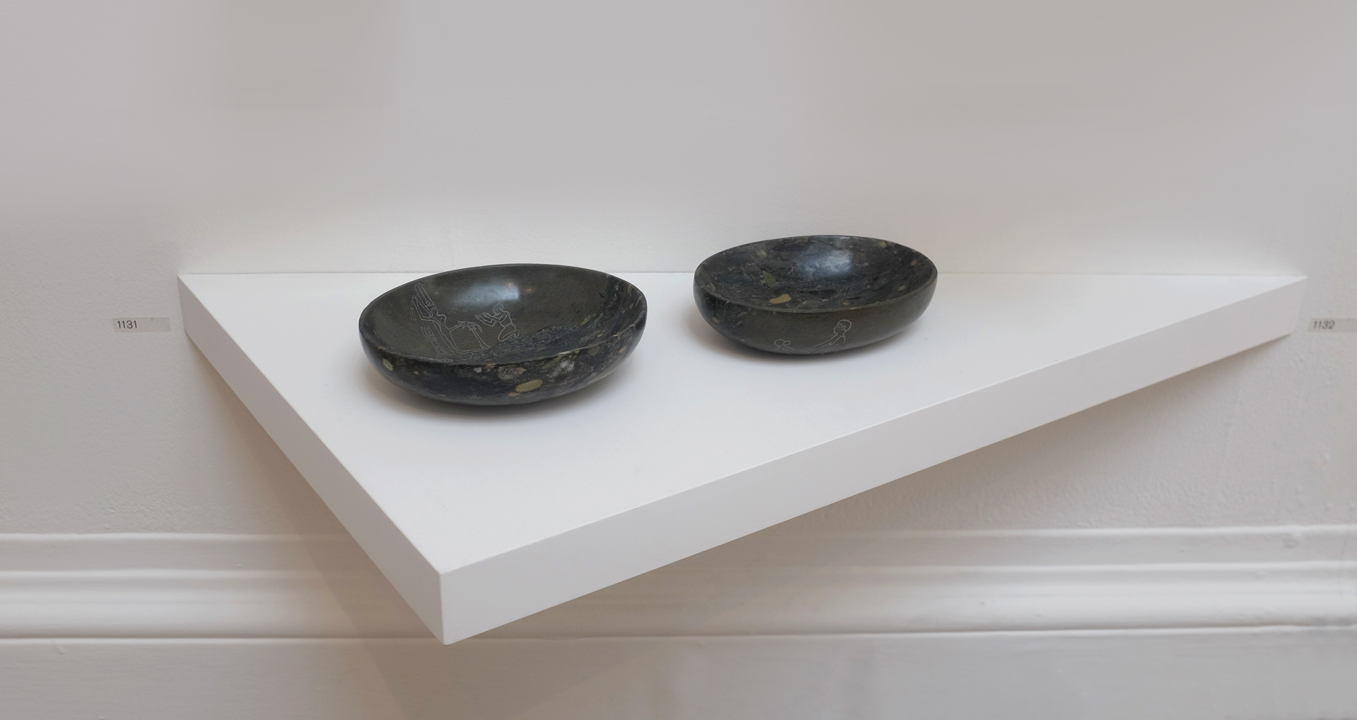 Two Offering Bowls,  2016  Hand-carved Egyptian breccia