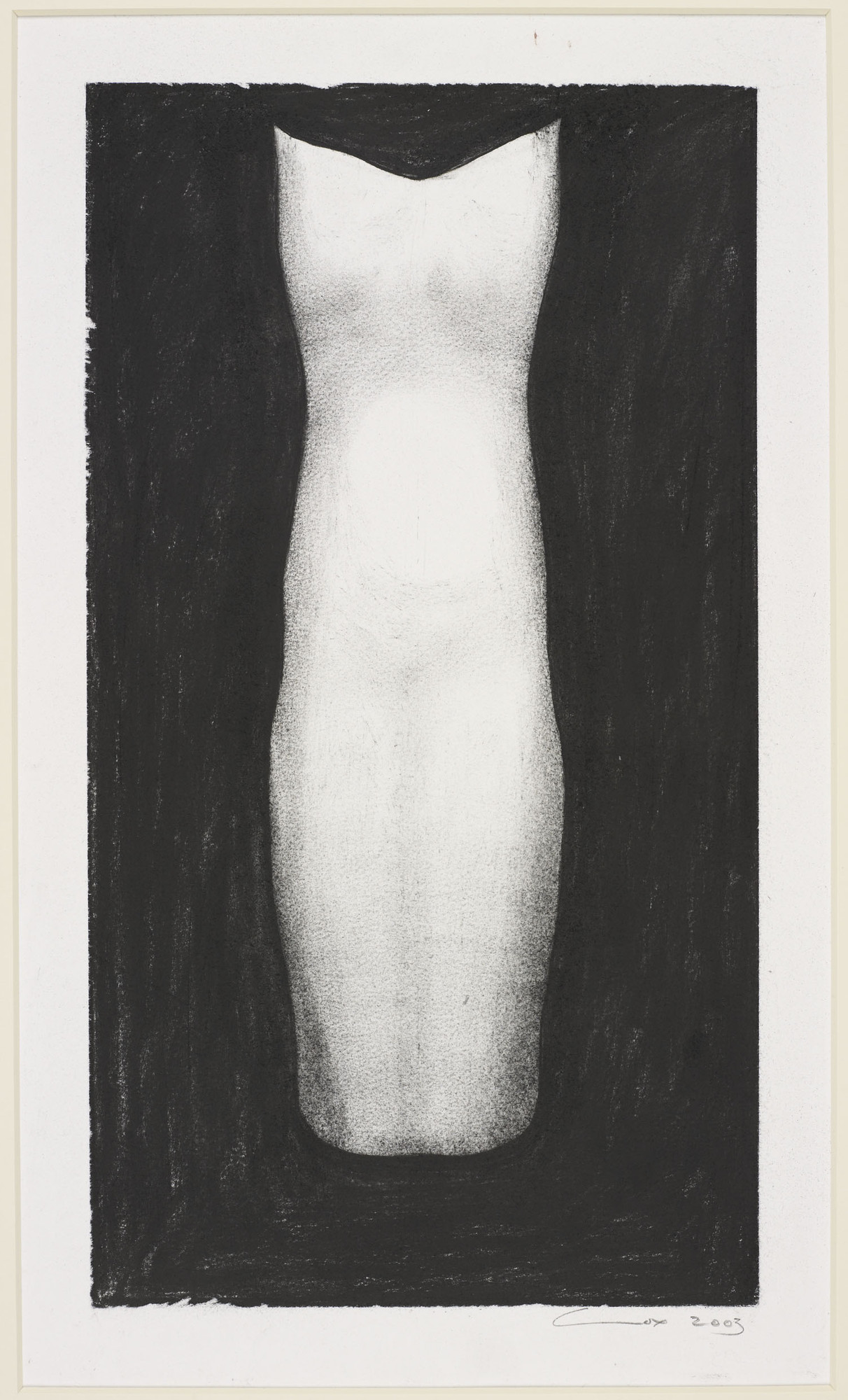 Study for Sculpture- Front view 2003 Compressed charcoal   57.3 x 38.2 cm (sheet of paper).jpg
