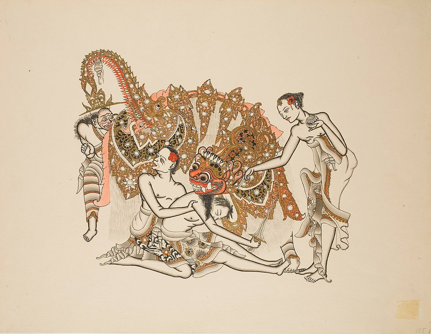 A dancer is being revived from trance with holy water. This 1935 drawing by Lempad is part of a series on Balinese dance commissioned by the Swedish dance impresario Rolf de Maré.    Collection of the Dance Museum of Stockholm