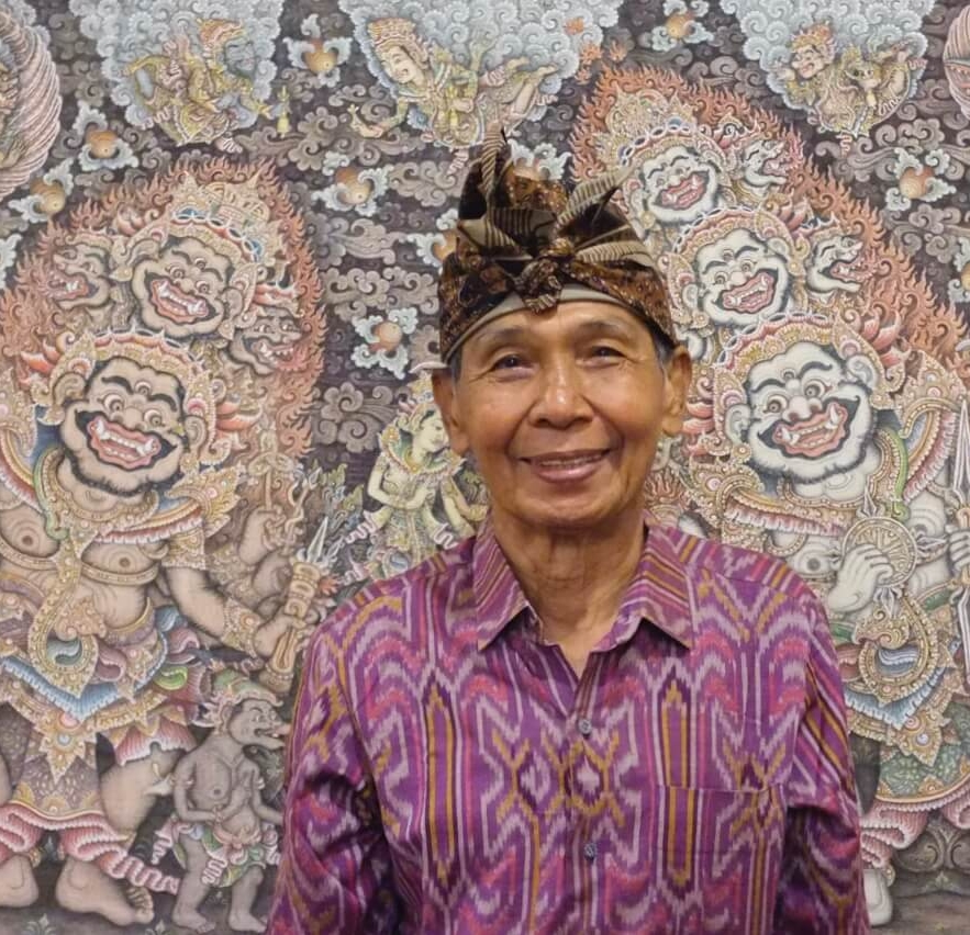 Ketut Madra at the 2013 opening of the retrospective exhibition of 40 years of his work, together with traditional Balinese  wayang  temple paintings of the 19th and 20th centuries at Ubud's Museum Puri Lukisan.
