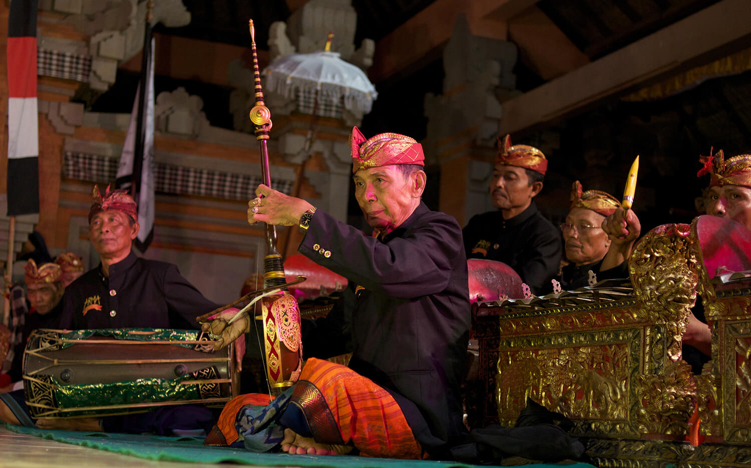 Madra in 2015 playing  rebab  with Peliatan's renowned Tirta Sari gamelan