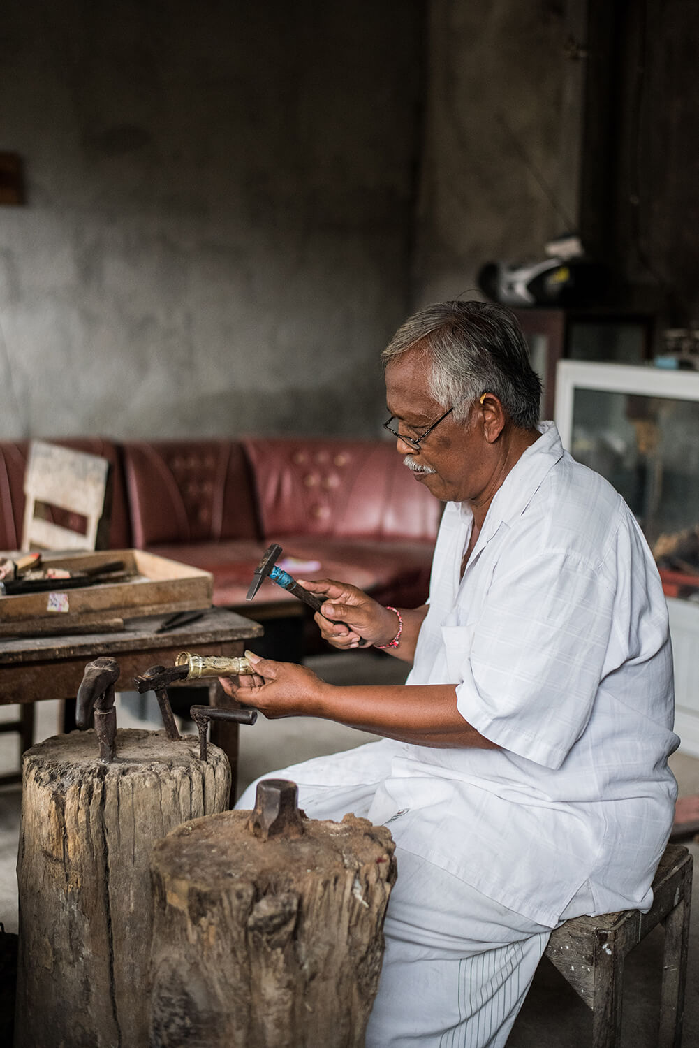 Mangku Merta of Bangli specializes in creating traditional keris handles in brass, silver and gold.