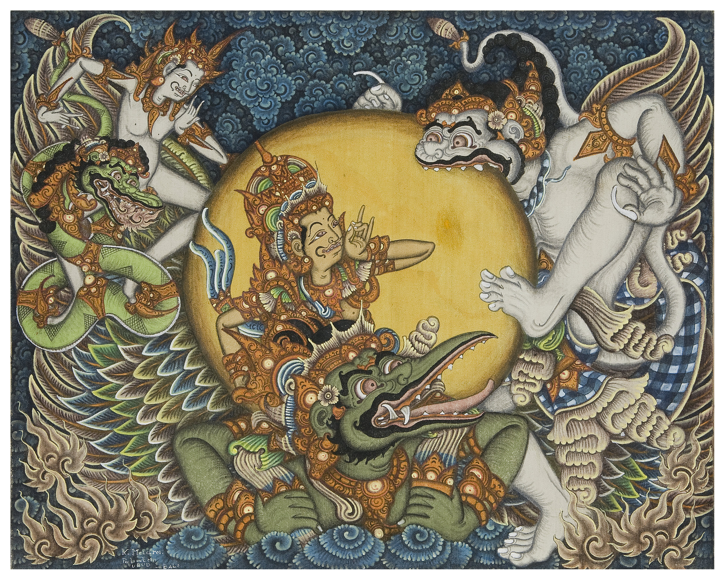 This 1972 acrylic on canvas painting by Ketut Madra shows Hanoman in his youth trying to eat the sun, having mistaken it for a ripe fruit. Surya, god of the sun, gently corrects him.                                        Ganesha Collections, USA