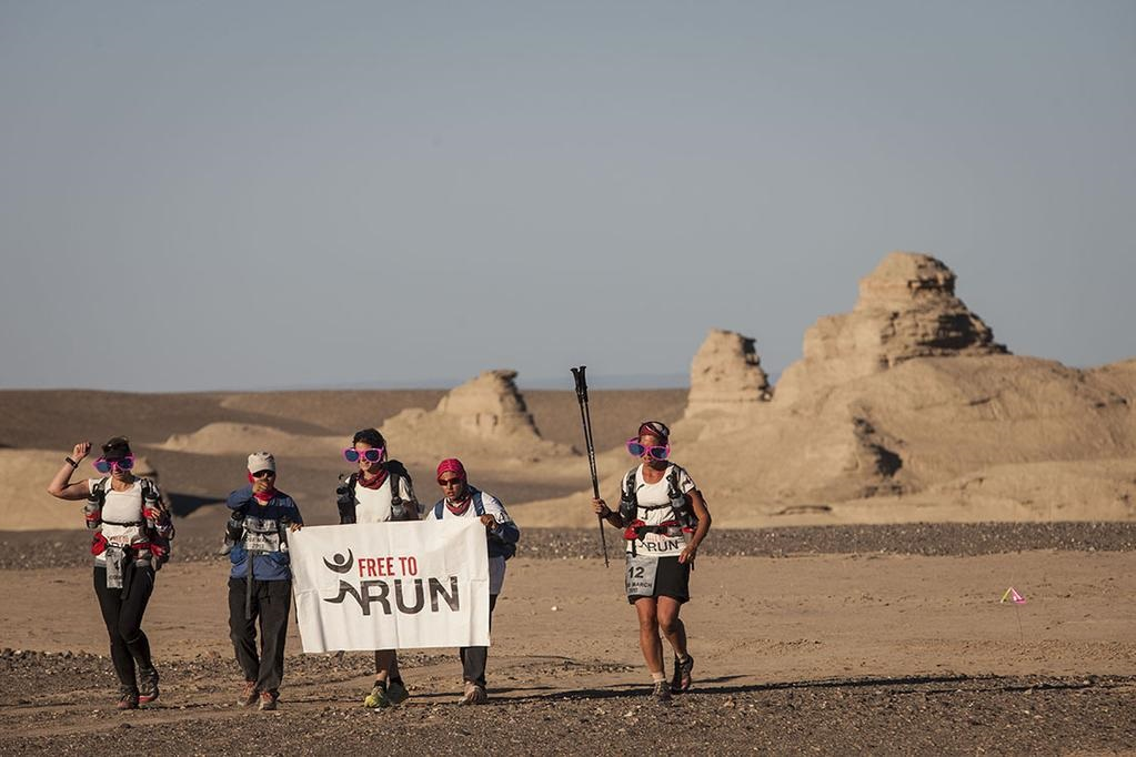 Reaching the finish line at the 4 Deserts Gobi March in 2015.