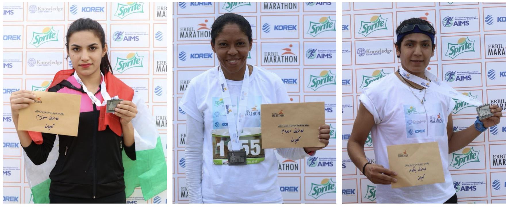 The top 3 female runners in the 2017 Erbil 10K.
