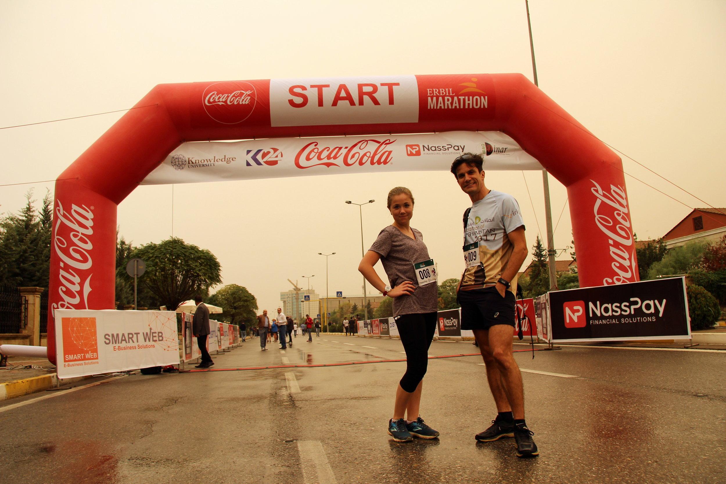Eleanor (left) at the start line of the Erbil Marathon