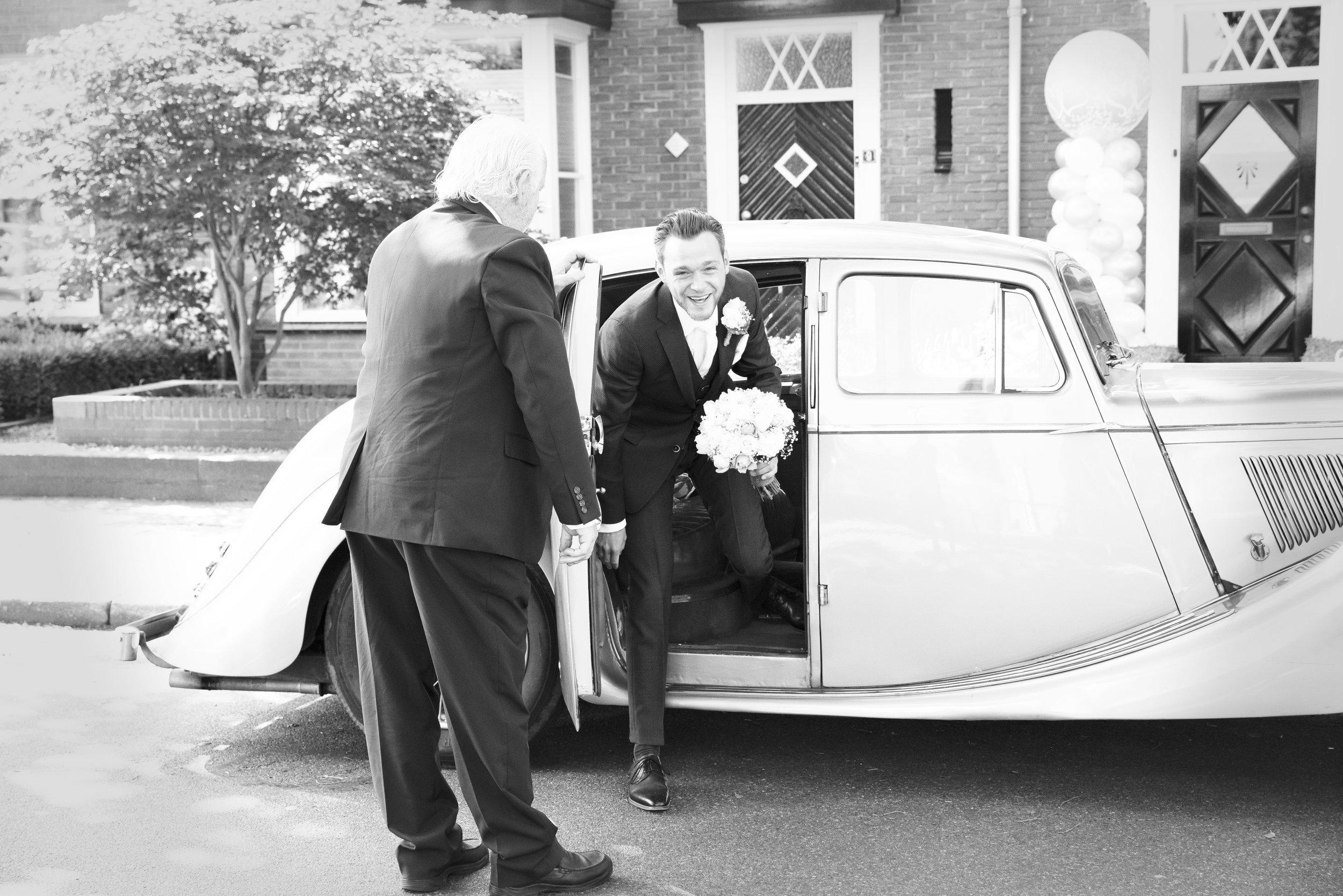 trouwauto bruidegom trouwfoto Precious People