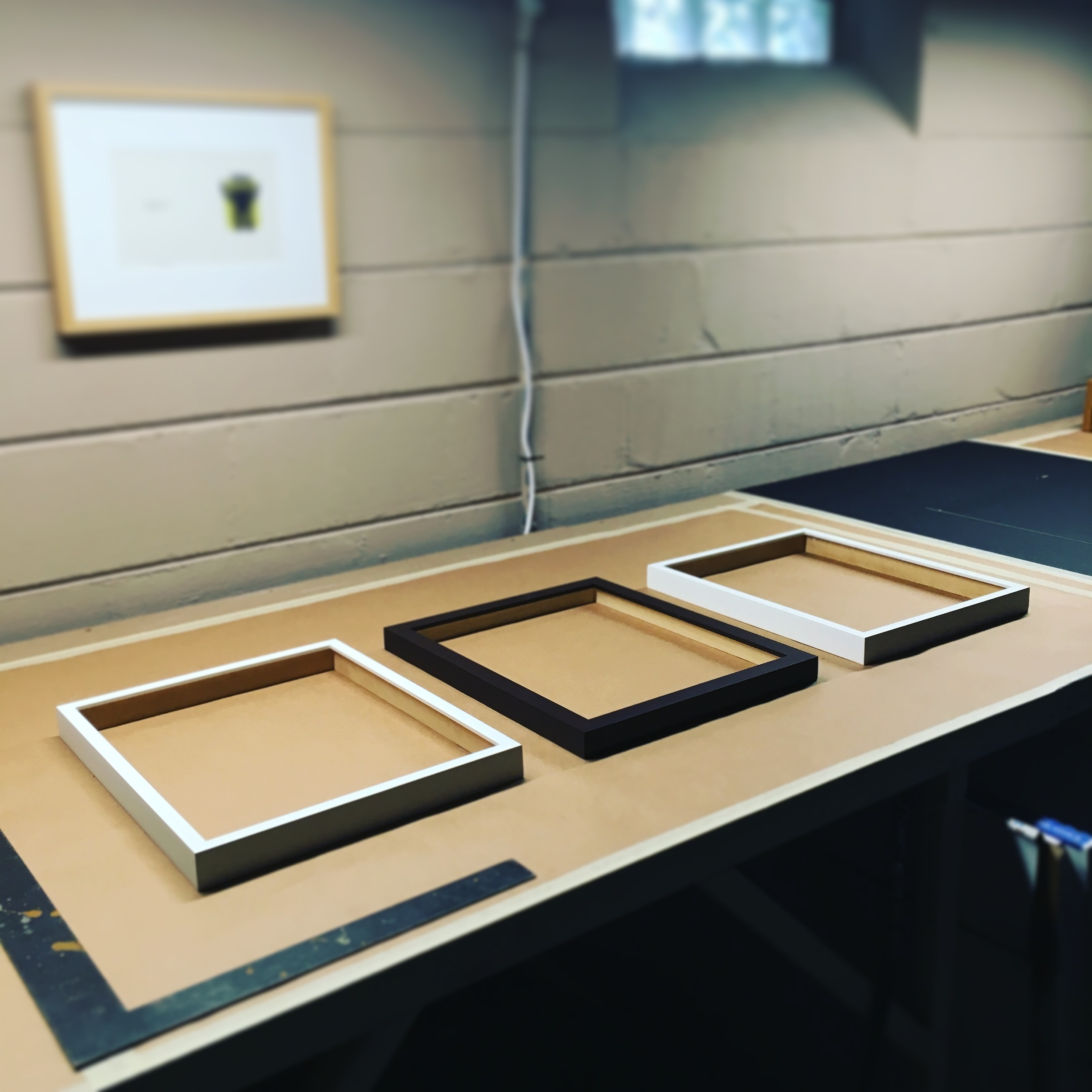 Three joined frames on the workbench