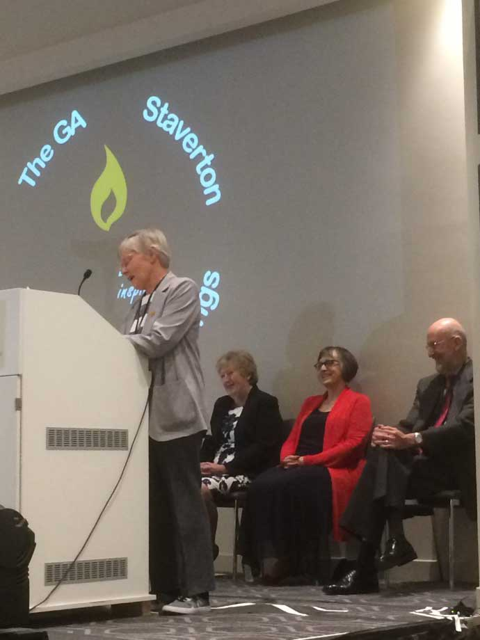 Ann Sinclair seconding the motion, watched by Joan Cook, Rev Celia Cartwright and Stan Cook