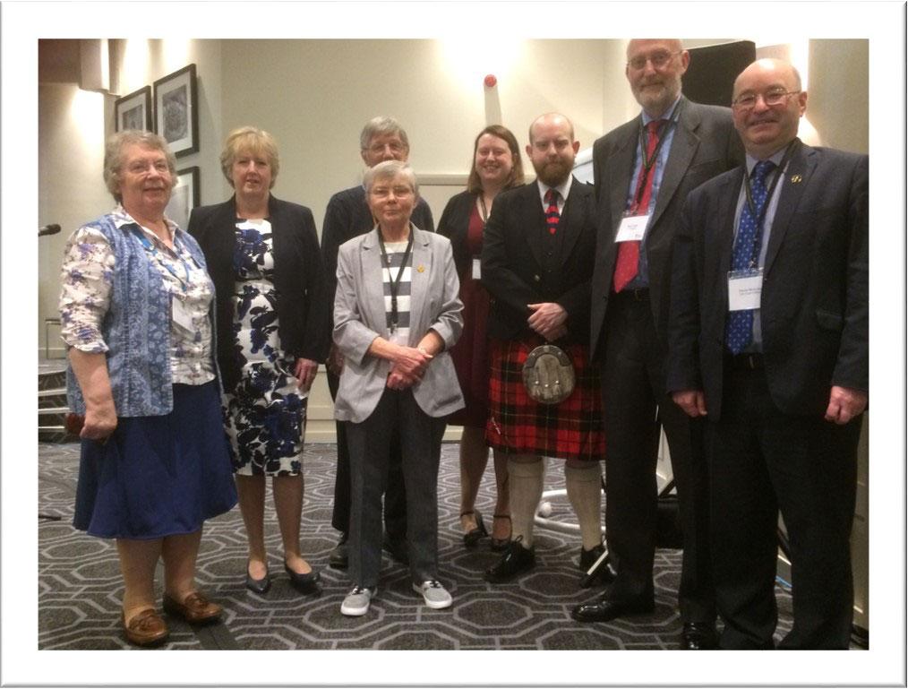 Left to right: Margaret Hill, Joan Cook, Rev Andrew Hill, Ann Sinclair, Hannah Cook, Adam Cook, Stan Cook, Derek McAuley, Chief Officer
