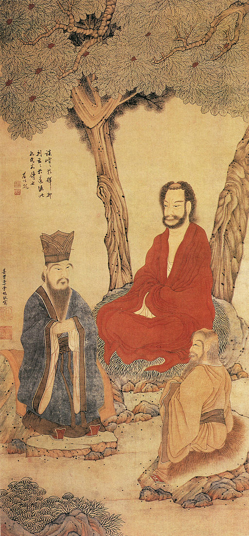 Confucius, Lao-tzu and Buddhist Arhat (三教), by 丁云鹏 (Ding Yunpeng), via  WikiMedia Commons