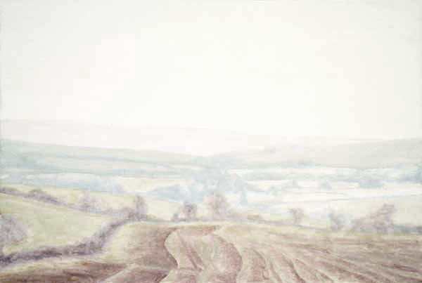 Misty view across the Bride Valley, West Dorset