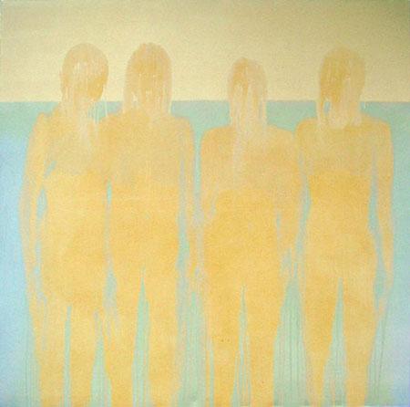 Four figures on the beach