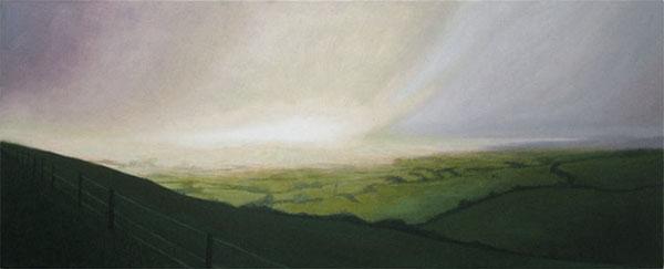 """Eggardon View"", oil on canvas, 100x40cm"