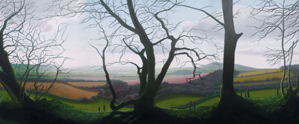 """View from Lewesdon Hill"", oil on canvas, 140x59cm"
