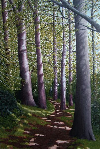 """Path up Allington Hill"", oil on canvas, 84x123cm"