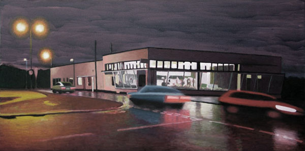 """Cafe Royal with cars"", oil on canvas, 120x60cm"
