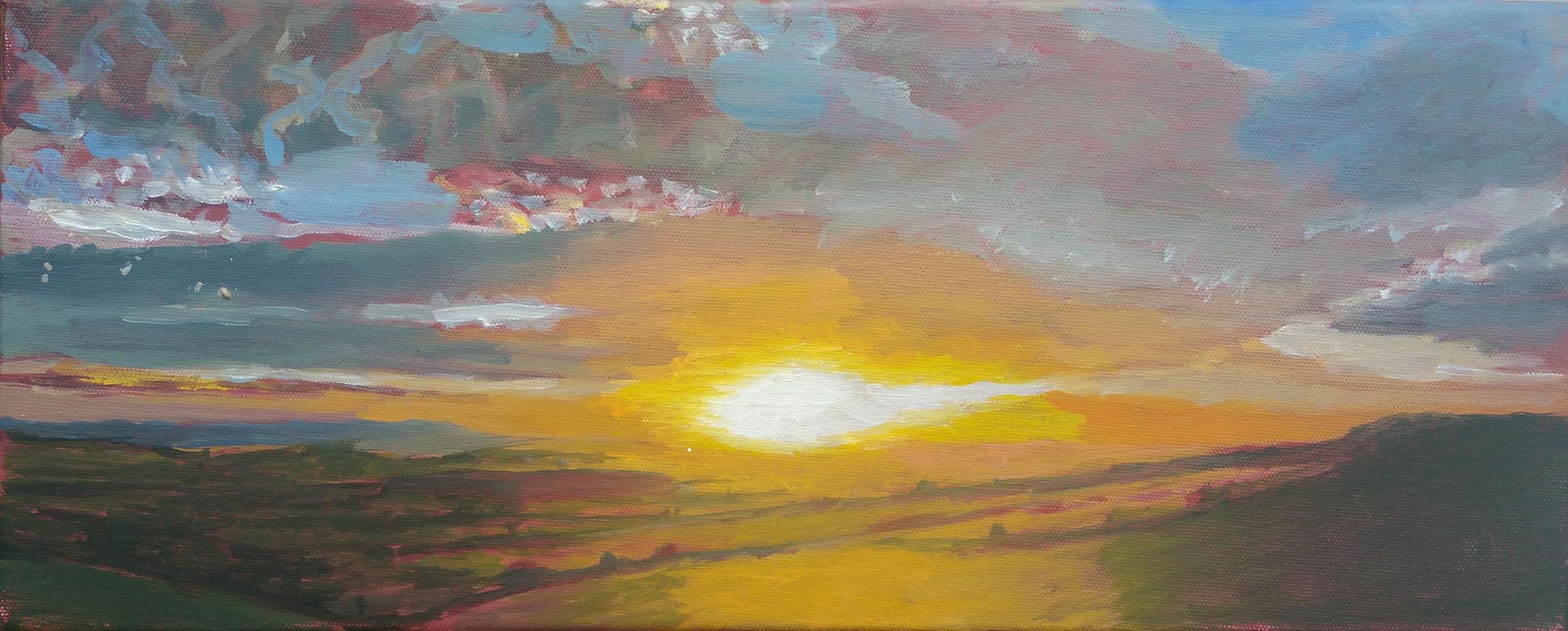 """Eggardon Light 20""""x8"""" oil on canvas"""